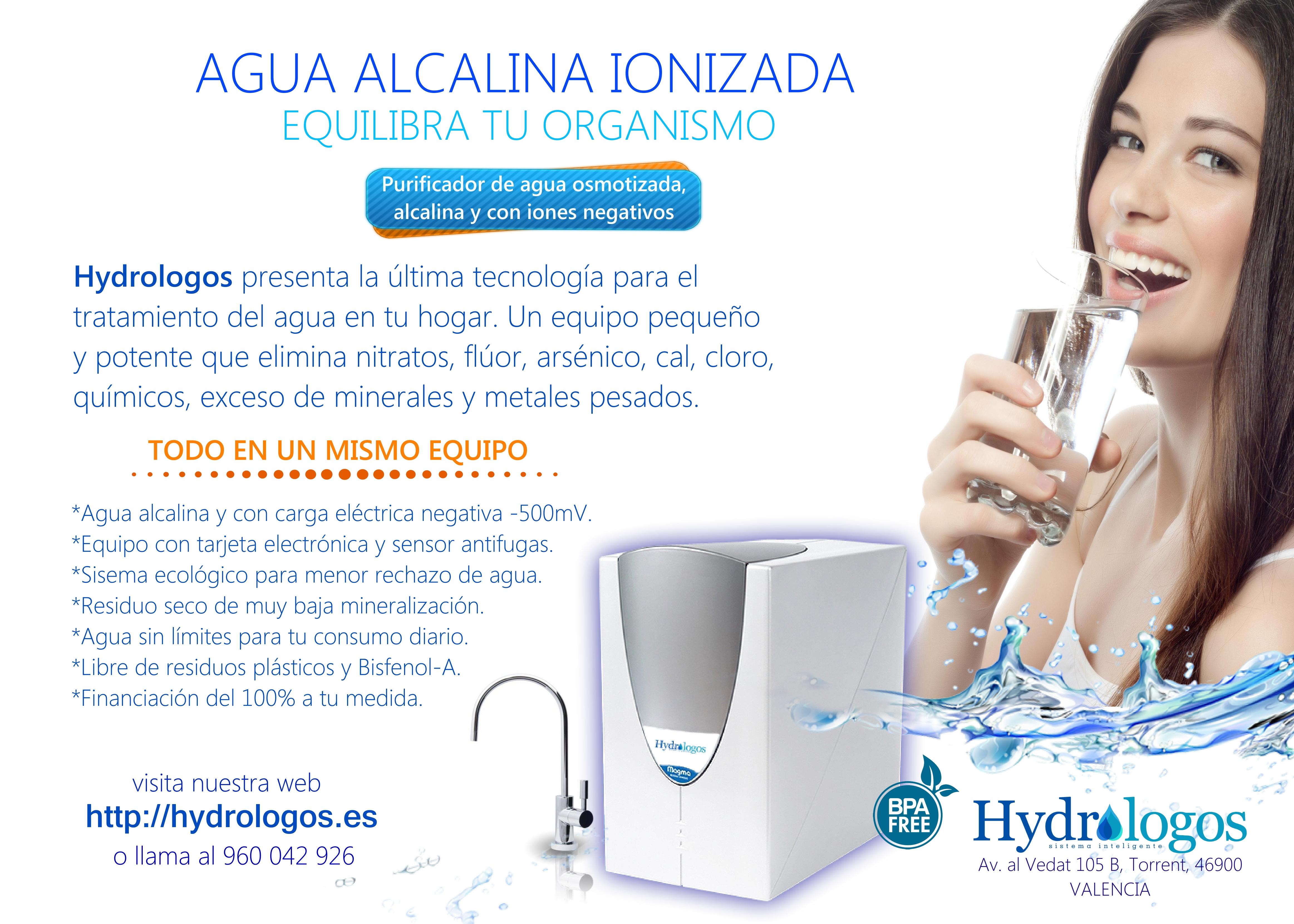 agua alcalina con carga eléctrica negativa