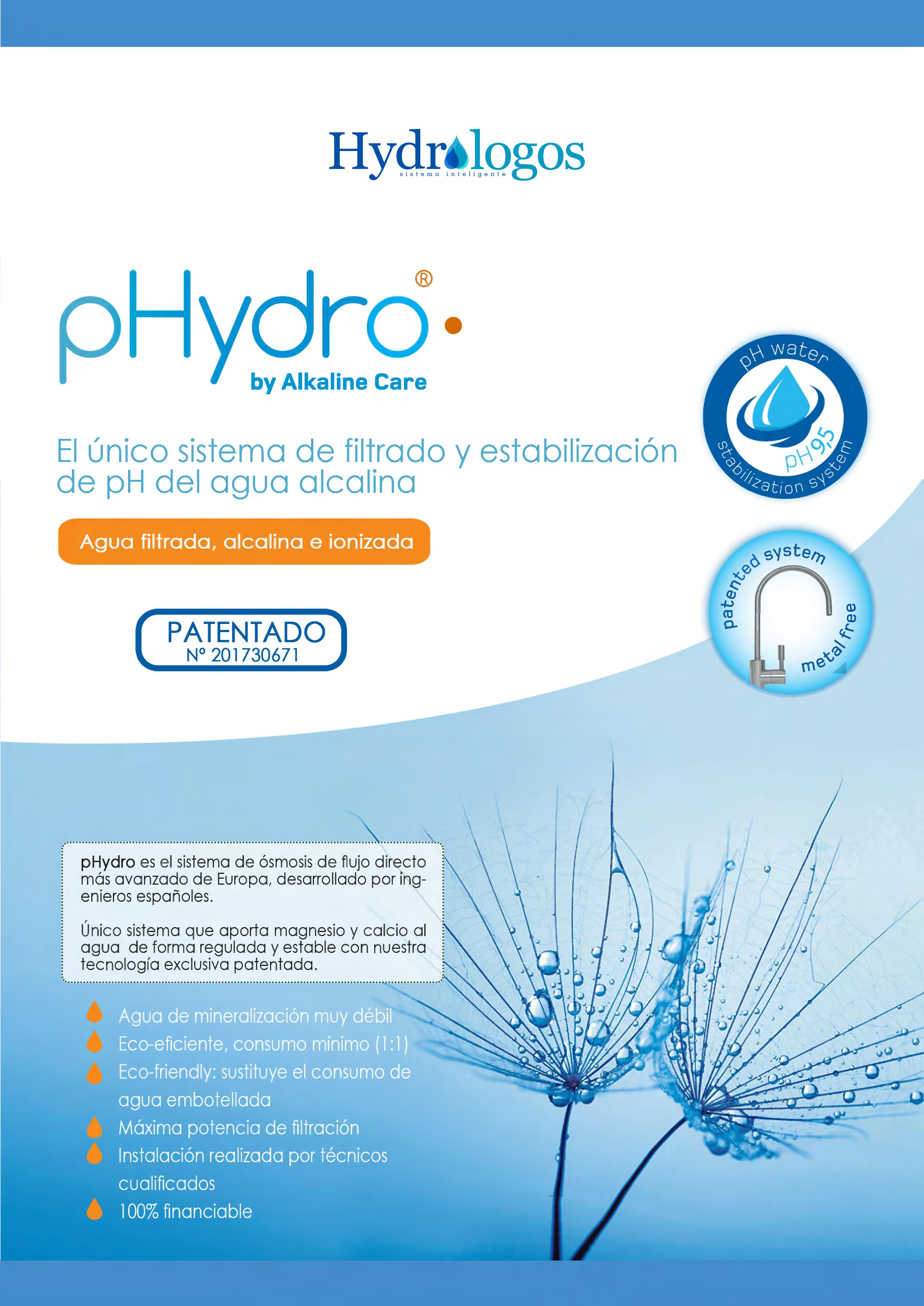 Purificador de agua alcalina pHydro valencia
